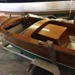 1950 Chris Craft Special Runabout 17', engine box and forward deck view